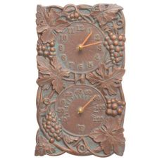 Grapevine Indoor Outdoor Wall Clock & Thermometer , Copper Verdigris