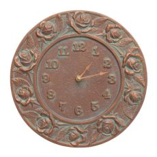 "Rose 12"" Indoor Outdoor Wall Clock, Copper Verdigris"