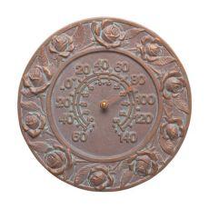 "Rose 12"" Indoor Outdoor Wall Thermometer, Copper Verdigris"