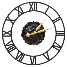 "Rosette Floating Ring 21"" Indoor Outdoor Wall Clock , Black"