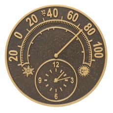 "Solstice 14"" Indoor Outdoor Wall Clock & Thermometer, French Bronze"
