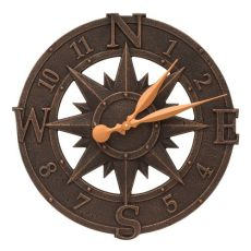 "Compass Rose 16"" Indoor Outdoor Wall Clock , Oil Rubbed Bronze"