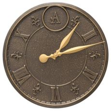 "Monogram 16"" Indoor Outdoor Wall Clock, French Bronze"