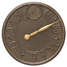 """Monogram 16"""" Indoor Outdoor Wall Thermometer, French Bronze"""