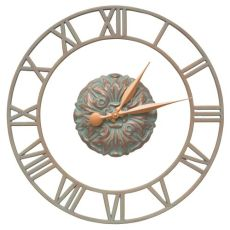 "Cambridge Floating Ring 21"" Indoor Outdoor Wall Clock, Copper Verdigris"