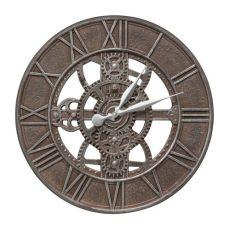 "Gear 21"" Indoor Outdoor Wall Clock, Weathered Iron"