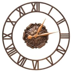 "Rosette Floating Ring 21"" Indoor Outdoor Wall Clock , Antique Copper"