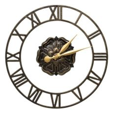 "Rosette Floating Ring 21"" Indoor Outdoor Wall Clock , Black / Gold"