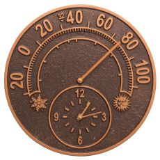 "Solstice 14"" Indoor Outdoor Wall Clock & Thermometer, Antique Copper"