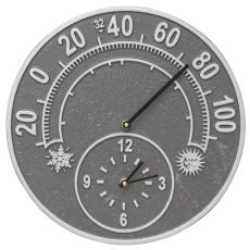 "Solstice 14"" Indoor Outdoor Wall Clock & Thermometer, Pewter/Silver"