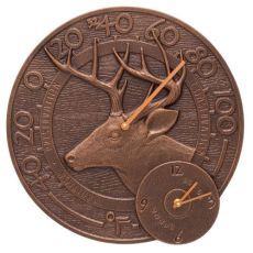 """Whitetail Deer 14"""" Indoor Outdoor Wall Clock & Thermometer, Antique Copper"""