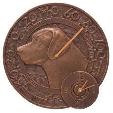 "Labrador 14"" Indoor Outdoor Wall Clock & Thermometer, Antique Copper"