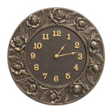 "Rose 12"" Indoor Outdoor Wall Clock, French Bronze"