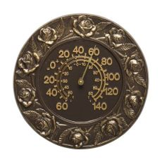 "Rose 12"" Indoor Outdoor Wall Thermometer, French Bronze"