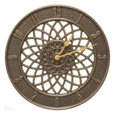"Spiral 14"" Indoor Outdoor Wall Clock, French Bronze"