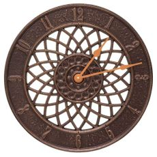 "Spiral 14"" Indoor Outdoor Wall Clock , Antique Copper"