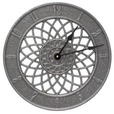 "Spiral 14"" Indoor Outdoor Wall Clock, Pewter/Silver"