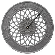 """Spiral 14"""" Indoor Outdoor Wall Thermometer, Pewter/Silver"""