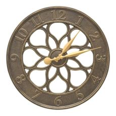 "Medallion 18"" Indoor Outdoor Wall Clock, French Bronze"
