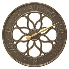 "Medallion 18"" Indoor Outdoor Wall Thermometer, French Bronze"