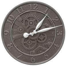 """Gear 16"""" Indoor Outdoor Wall Clock, Aged Iron"""
