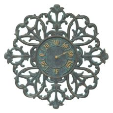 "Filigree Silhouette 21"" Indoor Outdoor Wall Thermometer, Bronze Verdigris"