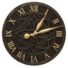 "Artisan 16"" Indoor Outdoor Wall Clock , Black / Gold"