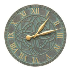 "Artisan 16"" Indoor Outdoor Wall Clock , Bronze Verdigris"