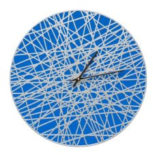 "Banded 16"" Indoor Outdoor Wall Clock , Dark Blue / Silver"