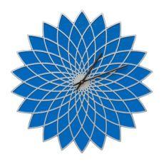 """Lotus 16"""" Indoor Outdoor Wall Clock , Dark Blue / Silver"""