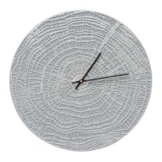 "End Grain 16"" Indoor Outdoor Wall Clock , Grey / Silver"