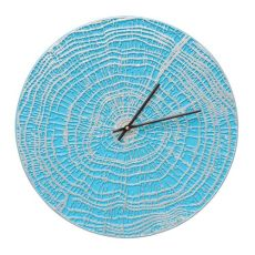 "End Grain 16"" Indoor Outdoor Wall Clock , Scuba Blue / Silver"