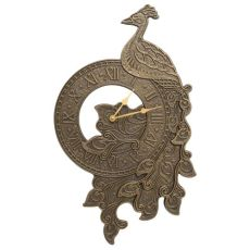 Peacock Indoor Outdoor Wall Clock, French Bronze