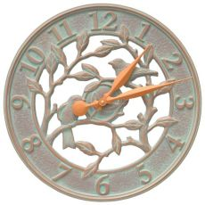 "Woodridge 16"" Indoor Outdoor Wall Clock, Copper Verdigris"