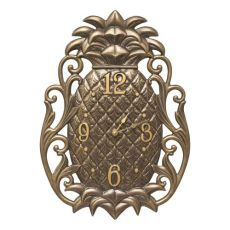 Pineapple Scroll Indoor Outdoor Wall Clock , French Bronze