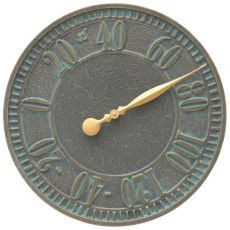 "Geneva 16"" Indoor Outdoor Wall Thermometer, Bronze Verdigris"