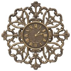"Filigree Silhouette 21"" Indoor Outdoor Wall Clock , French Bronze"