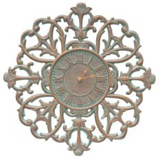 "Filigree Silhouette 21"" Indoor Outdoor Wall Clock , Copper Verdigris"