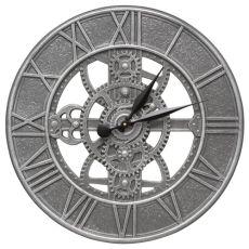 "Gear 21"" Indoor Outdoor Wall Clock, Pewter Silver"