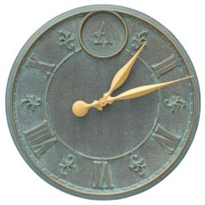 "Monogram 16"" Personalized Indoor Outdoor Wall Clock, Bronze Verdigris"