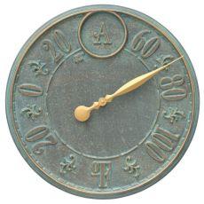 """Monogram 16"""" Personalized Indoor Outdoor Wall Thermometer, Bronze Verdigris"""