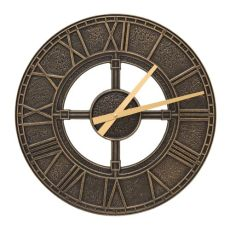 "Hera 16"" Indoor Outdoor Wall Clock, Black / Gold"