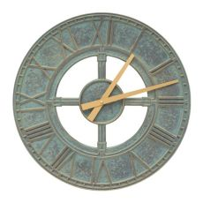 "Hera 16"" Indoor Outdoor Wall Clock, Bronze Verdigris"