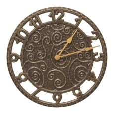 "Flourish 14"" Indoor Outdoor Wall Clock , French Bronze"
