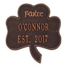 Shamrock Address Plaque, Antique Copper
