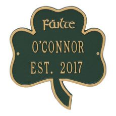 Shamrock Address Plaque, Green Gold
