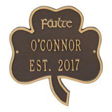 Shamrock Address Plaque, Bronze Gold