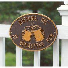 Personalized Beer Mugs Plaque, Antique Copper
