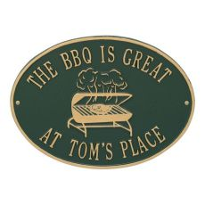 Personalized Grill Plaque, Green / Gold