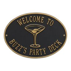 Personalized Martini Plaque, Black / Gold